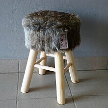 Deluxe Design Fellhocker in grau Hocker Sitzhocker Shemel Fußhocker Barhocker Beistellhocker Holz Felloptik Stuhl Fell Dekohocker NEU