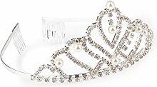 Deluxe Diadem mit Perlen und Diamanten Glas-Metal , silber ca. D:13cm/H:5,5cm