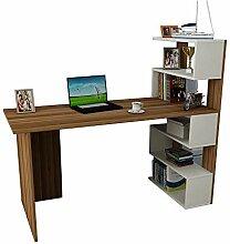 Deluxe Schreibtisch - Nussbaum/Weiß -