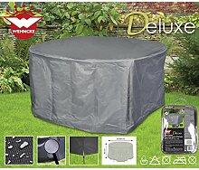 Deluxe Schutzhülle für runde Garten-Sitzgruppe, 200x95 cm, Polyester 420D - Gartenmöbel Schutz Hülle Abdeckung Tragetasche Plane