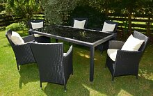 Deluxe Sitzgruppe BOLOGNA Tisch 200cm 7 teilig 3 Jahre Garantie Rattanfarbe schwarz braun Kissenbezüge creme