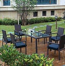 Deluxe Sitzgruppe MONACO 7-teilig 3 Jahre Garantie Rattanfarbe schwarz Kissenbezüge creme