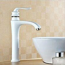 Deluxe Wasserhahn Hochwertige Weiß lackiert Wasserfall Messinghähne Bad Armatur Waschbecken Waschbecken Mischbatterie W 3023, Messing, Weiß