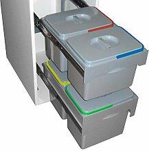 DEMA Abfallbehälter/Mülleimer 2x15 Ltr. + 2x12