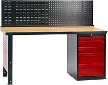 DEMA Werkbank mit 5 Schubladen + Rückwand 170x72x135