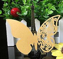 Demarkt 3D Schmetterlinge Platzkarten Weinglas Tischkarte hohl Schmetterlinge Tischkarten Platzkarten Hochzeit Party Dekoration Gelb