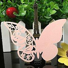 Demarkt 3D Schmetterlinge Platzkarten Weinglas Tischkarte hohl Schmetterlinge Tischkarten Platzkarten Hochzeit Party Dekoration Rosa
