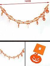 Demarkt Halloween Dekoration Banner Halloween Party Stützen Dekoration Orange Kürbisform 160cm