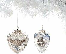 Demdaco Weiß Herz Glas Kugel pluft Ornaments Set