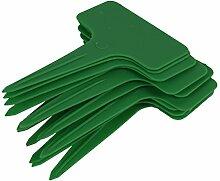 Demiawaking 100Stk. Mini T-Form Wasserdicht Kunststoff Garten Baumschule Pflanzen Label Pflanzenstecker Stecketiketten Beschriften Pflanzschilder Schilder (Gruen)