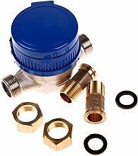 Demiawaking 15mm 1/2 Zoll Kalt Wasserzähler für Garten & Haus mit freien Fittings
