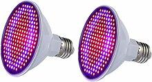 Demiawaking 2 stücke E27 SMD 24 Watt Wachsen Licht Gemüse Licht Pflanze Lampe 200 LED