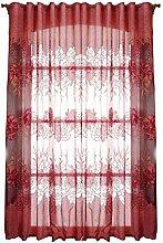 Demiawaking Hibiskus Tüll schiere Tür Fenster Screening Vorhang Gardine Transparent Balkon Schlafzimmer Dekoration (Rot)