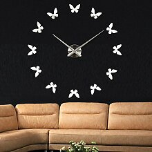 Demiawaking Kreative DIY Schmetterling Wandtattoo Uhr 3D Stereoskopische Spiegel Wanduhren (Silber)