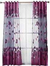 Demiawaking Laub Tüll schiere Vorhang Gardine Transparent Balkon Schlafzimmer Dekoration (Lila)