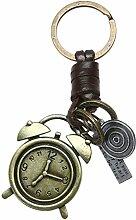 Demiawaking Männer Frauen Eule Maus Tastatur Uhr Schlüsselanhänger Bronze Legierung Leder Schlüsselanhänger als Geschenk fuer Auto, Haus Wand Hängende Dekoration (Uhr)