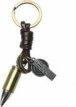 Demiawaking Männer Frauen Fahrrad Auto Kugel Flugzeug Schlüsselanhänger Bronze Legierung Leder Schlüsselanhänger als Geschenk fuer Auto, Haus Wand Hängende Dekoration (Kugel)