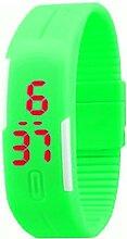 Demiawaking Männer Frauen Gummi LED Uhr Datum Digital Sport Armbanduhr (Fluoreszierend grün)