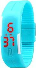 Demiawaking Männer Frauen Gummi LED Uhr Datum Digital Sport Armbanduhr (Hell Blau)