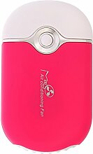 Demiawaking Mini Ventilator USB Aufladbare Lithium Batterie Tragbaren Ventilator (Rot)