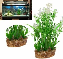 Demiawaking Simulation Gras Aquarium Aquarium Künstliche Pflanze Dekoration (Weiss)