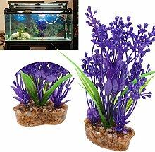 Demiawaking Simulation Gras Aquarium Aquarium Künstliche Pflanze Dekoration (Lila)