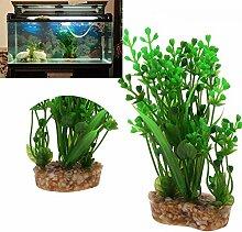 Demiawaking Simulation Gras Aquarium Aquarium Künstliche Pflanze Dekoration (Grün)