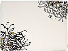 Denby Monsoon Chrysanthemum Platzset mit Unterseite aus Kork, 30,5x23cm, Schwarz/Gold/Creme, 4Stück