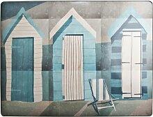 Denby Platzset mit Unterseite aus Kork, 29x22cm, Strandhütte, bunt, 6Stück