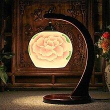 DENG E27 keramische Mahagoni-Tabellen-Lampe