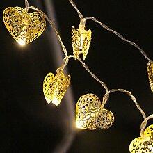 Denknova® 30er LED Gold Herz Lichterkette, batteriebetrieben, Warmweiß, 3 Meter