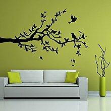 denoda Ast mit drei Vögeln - Wandtattoo Grau 39 x