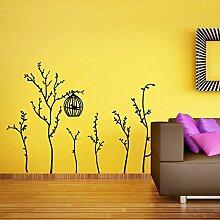 denoda® Bäumchen mit Vogelkäfig - Wandsticker (Wandsticker Wanddekoration Wohndeko Wohnzimmer Kinderzimmer Schlafzimmer Wand Aufkleber)