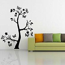 denoda® Baum mit Schmetterlingen - Wandtattoo Weiss 25 x 67 cm (Wandsticker Wanddekoration Wohndeko Wohnzimmer Kinderzimmer Schlafzimmer Wand Aufkleber)
