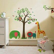 denoda® Baum mit Tieren - Wandsticker (Wandsticker Wanddekoration Wohndeko Wohnzimmer Kinderzimmer Schlafzimmer Wand Aufkleber)