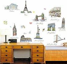 denoda® Berühmte Bauwerke - Wandsticker (Wandsticker Wanddekoration Wohndeko Wohnzimmer Kinderzimmer Schlafzimmer Wand Aufkleber)