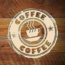 denoda® Coffee - Wandbutton Schwarz 100 x 100 cm (Wandsticker Wanddekoration Wohndeko Wohnzimmer Kinderzimmer Schlafzimmer Wand Aufkleber)