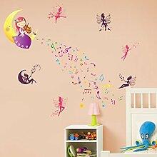 denoda® Elfen-Melodie - Wandsticker (Wandsticker Wanddekoration Wohndeko Wohnzimmer Kinderzimmer Schlafzimmer Wand Aufkleber)