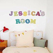 denoda® farbige Buchstaben - 59 Stück - Wandsticker (Wandsticker Wanddekoration Wohndeko Wohnzimmer Kinderzimmer Schlafzimmer Wand Aufkleber)