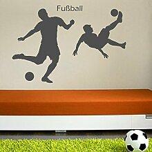 denoda® Fußballer - Wandtattoo Braun 50 x 68 cm (Wandsticker Wanddekoration Wohndeko Wohnzimmer Kinderzimmer Schlafzimmer Wand Aufkleber)