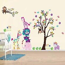 denoda® Happy Animals - Wandsticker (Wandsticker Wanddekoration Wohndeko Wohnzimmer Kinderzimmer Schlafzimmer Wand Aufkleber)