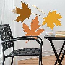 denoda® Herbstblätter - Wandtattoo 36 x 25 cm Nein (Wandsticker Wanddekoration Wohndeko Wohnzimmer Kinderzimmer Schlafzimmer Wand Aufkleber)