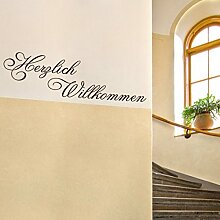 denoda® Herzlich Willkommen Weiss 85 x 25 cm (Wandsticker Wanddekoration Wohndeko Wohnzimmer Kinderzimmer Schlafzimmer Wand Aufkleber)
