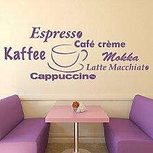 denoda® Kaffeewelt - Wandtattoo Schwarz 271 x 100 cm (Wandsticker Wanddekoration Wohndeko Wohnzimmer Kinderzimmer Schlafzimmer Wand Aufkleber)