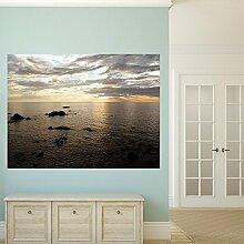 denoda® Meereshorizont - Wandbild 67 x 50 cm (Wandsticker Wanddekoration Wohndeko Wohnzimmer Kinderzimmer Schlafzimmer Wand Aufkleber)