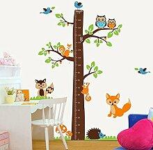 denoda® Messbaum mit Tieren - Wandsticker (Wandsticker Wanddekoration Wohndeko Wohnzimmer Kinderzimmer Schlafzimmer Wand Aufkleber)