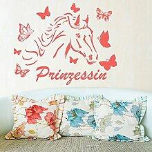 denoda® Pferd mit Schmetterlingen - Prinzessin - Wandtattoo Rot 63 x 50 cm (Wandsticker Wanddekoration Wohndeko Wohnzimmer Kinderzimmer Schlafzimmer Wand Aufkleber)