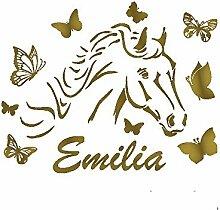 denoda® Pferd mit Schmetterlingen - Wunschname -