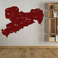 denoda® Sachsenumriss mit Städten - Wandtattoo Kupferfarben 100 x 75 cm (Wandsticker Wanddekoration Wohndeko Wohnzimmer Kinderzimmer Schlafzimmer Wand Aufkleber)
