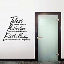 denoda® Talent ist was du kannst. - Wandtattoo Dunkelgrau 56 x 50 cm (Wandsticker Wanddekoration Wohndeko Wohnzimmer Kinderzimmer Schlafzimmer Wand Aufkleber)